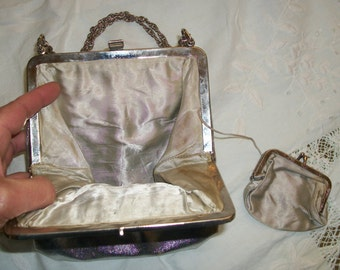 Vintage 1960s  Silver Vinyl Purse with Matching Coinpurse and Chain Exec Cond Cute! Evening Holiday Unique Unusual