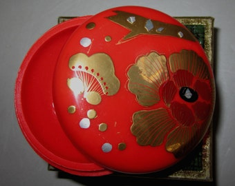 Vintage Pill Box in Red with Flowers with Plane by Sarsaparilla ~ Style # 4 Red