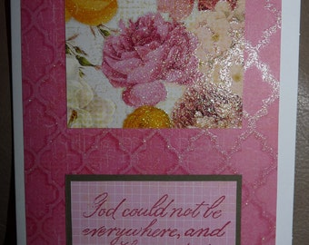 Mother's Day - Handmade Card - Embossed Glittered Flowers - Love -Feminine - FREE Shipping