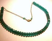 RESERVED - Teal Czech Glass Simplicity Choker Necklace