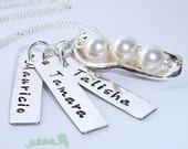 3 Peas In A Pod - Personalized charm necklace - hand stamped necklace - Three peas in the pod - for mother of 3 - White