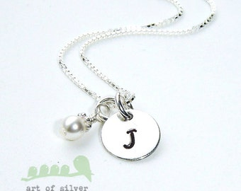 Personalized initial necklace - Silver handstamped necklace -Simple letter charm necklace -  Monogram charm necklace