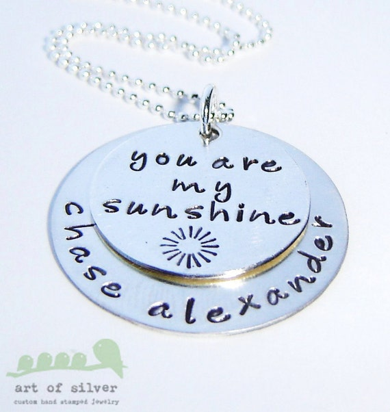 SALES - Personalized handstamped charm necklace - You Are My Sunshine - mommy jewelry
