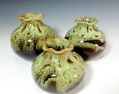 Set of 3 Vases in Woodland Green over Amber Brown Glaze /  Home Decor / Vase / Vessel / Display Pottery