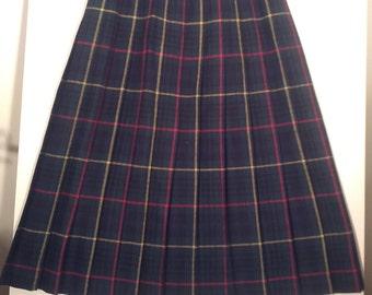 80s plaid skirt kilt pleated skirt grunge boho punk tartan size 14