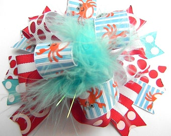Crab Hair bows - Over the top Crab Shack Orange, Red and Turquoise Polka dots