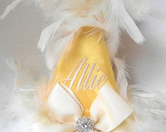 First Birthday Party Hats-Gold Satin Bling
