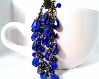 Royal Blue Czech Glass and Swarovski Crystal Charm Bracelet  - Blue Velvet