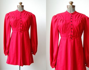 Cherry Cherry Mini Dress • 1960's Red Wool Mini Dress