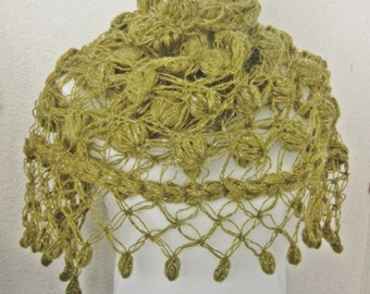 Crochet shawl scarf, winter Neck Warmer,  women scarves, Olive, Olive green, Green, Forest green, Crochet Shawl