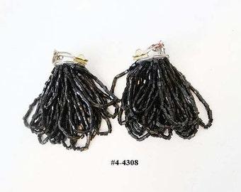 FREE SHIP Vintage Black Seed Bead Torsade Earrings (4-4308)