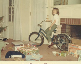 Christmas Morning 1967 Girl Sitting On Her New Bike in the Living Room SC Vintage Color Photo Photograph