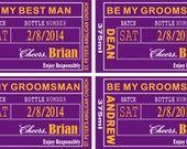 Wedding Groomsman Liquor Labels Woodford Reserve Distillery Best Man in your team or wedding colors