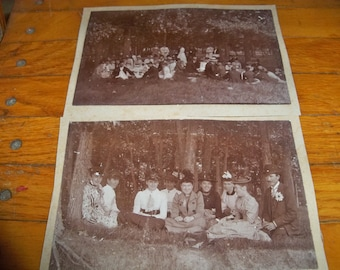 2 antique photos of a picnic