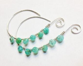 Opal Earrings  Opal Hoop Earrings  Blue Opal Earrings Dangle  Blue Peruvian Opal Hoop Earrings