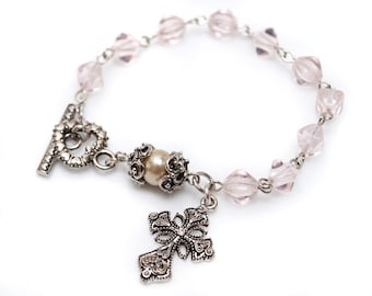 Light Pink Glass and Pearl Rosary Bracelet