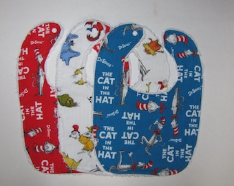 Set of Three Dr. Seuss, Cat In The Hat Baby Bibs-Baby Gift-Shower Gift-Gender Neutral
