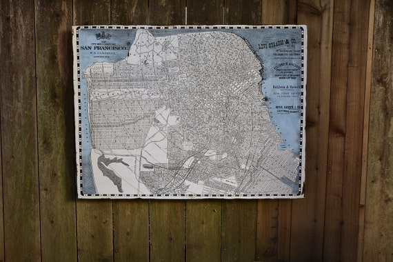 Vintage san francisco map 30x36 salvaged wood by for Reclaimed wood san francisco