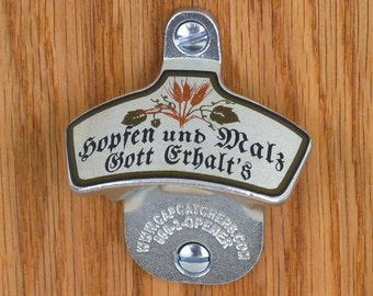 German Wall Mount Bottle Opener, German Bottle Cap Catcher, German Beer Gift, Oktoberfest