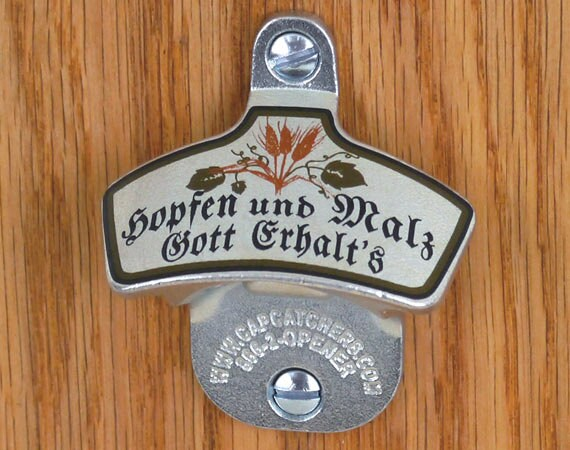 German wall mount bottle opener german bottle cap by capcatchers - Wall mounted beer bottle opener cap catcher ...