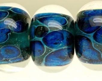 New Paulbead lampwork glass beads boro bead set of 6 in lapis and ice blue sparkle Lapis Twilight Sparkle