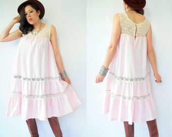 Vintage 70's Boho Draped Pink Pinstripe Crochet Mexican Tent Dress / Gypsy Festival Sun Dress