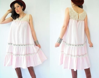 SALE...Vintage 70's Boho Draped Pink Pinstripe Crochet Mexican Tent Dress / Gypsy Festival Sun Dress