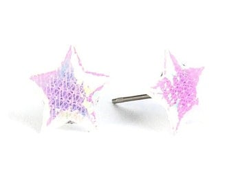 Sale Clearance 20% OFF - Rainbow white shiny iridescent star fabric hypoallergenic studs earrings (395)