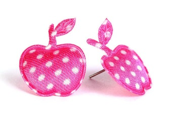 Sale Clearance 20% OFF - Hot pink polka dots apple applique satin felt hypoallergenic studs earrings (396)