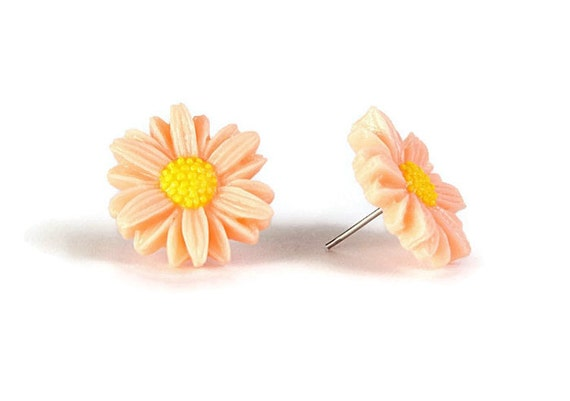 Vintage look Mango orange and yellow sunflower flower stud earrings READY to ship (294) - Flat rate shipping