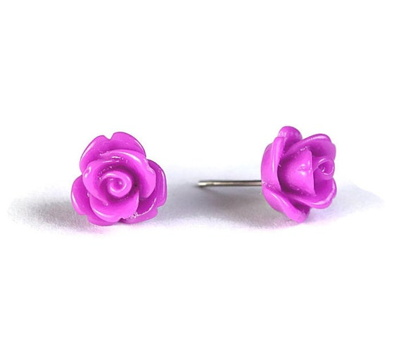 Sale Clearance 20% OFF - Violet mauve purple rose rosebud flower acrylic stud earrings READY to ship (310)