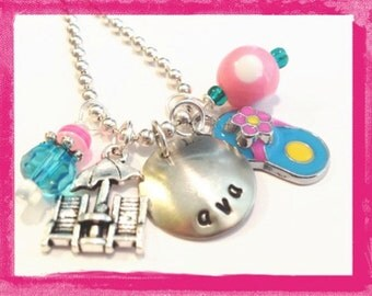 Personalized Necklace - DAY at THE BEACH - Custom Necklace for little girls - Jewelry #g601