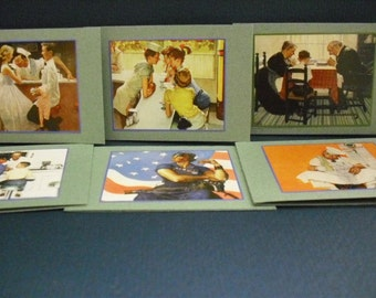 Set of 6 Assorted Norman Rockwell Miniature Cards