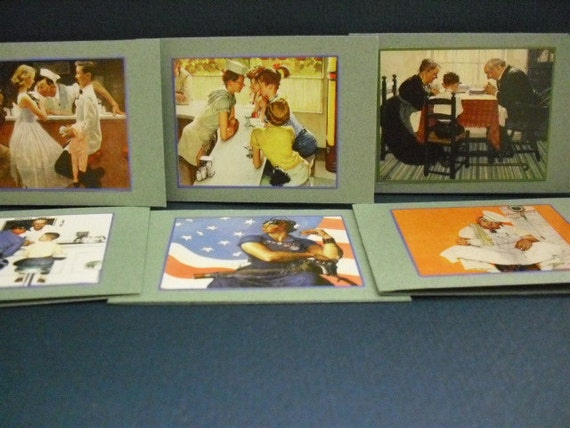 Upcycled Norman Rockwell Miniature Cards