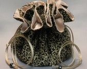 Black Leopard Print---Large Jewelry Travel Tote--Organizer Pouch