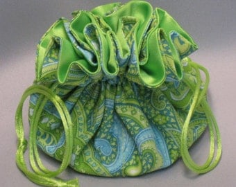Jewelry Tote---Lime Green Paisley Design---Drawstring Organizer Pouch--Medium Size