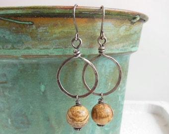 Picture Jasper Hoop Earrings, Rustic Jewelry, Hammered Hoops, Oxidized Sterling Silver Dangles