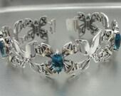 New 9K Yellow Gold& 925 Sterling Silver blue topaz stone filigree bracelet (s b 2012bt)