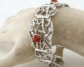 Jewela  Art Silver Red Sponge Coral Bracelet (s r1728s