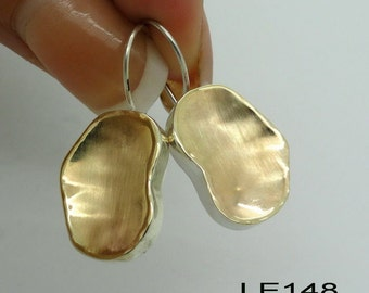 Handmade Israel Organic Art Gold Silver Earrings (I e148)