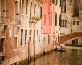 Venice Canal Photo, Italy Photography Italian Bridge House Building Wall Art Home Decor Pastel Pink Orange ven4