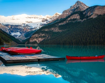 Banff Photography, Red Canoes Lake Louise Photo, Reflections Jasper Alberta Rockies Mountains Landscape Canada can8