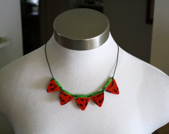 Watermelonmania party bunting necklace