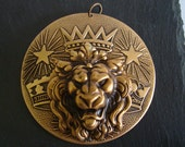 Imperial Lion Pendant, Large Jewelry Findings, Unique Necklace Supply or Embellishment, The King Necklace Supply, Limited Jewelry Component