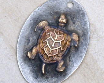 Molten Soldered Turtle Charm Pendant Bohemian Sea Turtle Charm Raw Brass Turtle Metalwork Altered Art Supplies Jewelry Supplies Mixed Metals