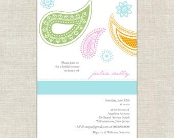 Paisley Bridal Shower Invitation, Turquoise Orange and Green, Indian Mehndi, Moroccan, Wedding Shower Invitation