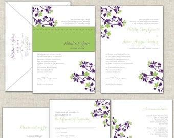 Infinity Wedding Invitations Calligraphy Invites Magenta Lime Green