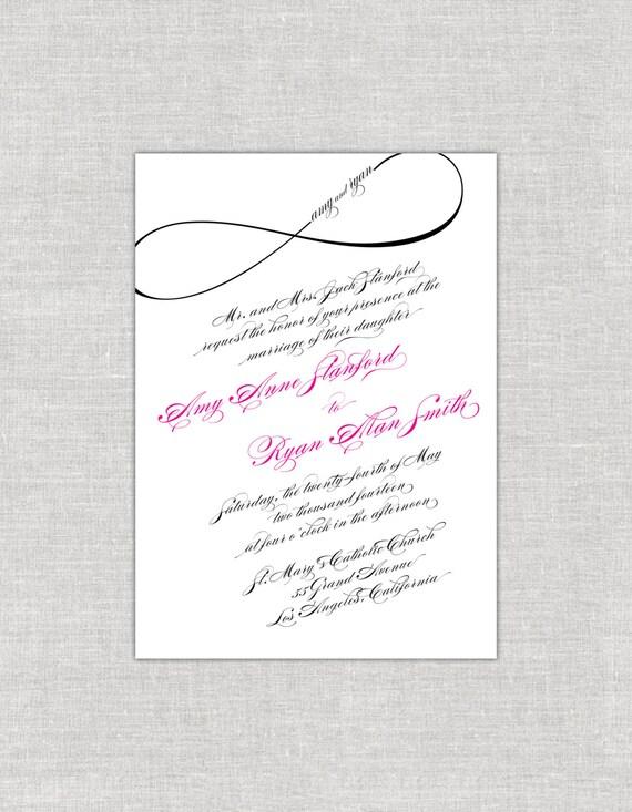 Infinity Wedding Invitations Calligraphy Invites Magenta Black Hot Pink And Modern
