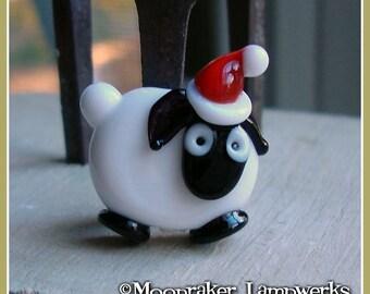 Christmas Sheep Holiday Lampwork Bead