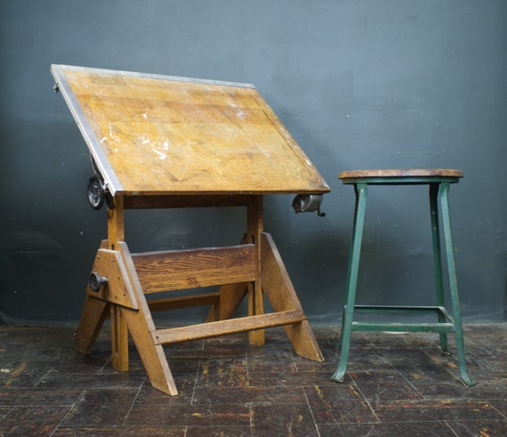 drafting table vintage wood and cast iron artist drawing